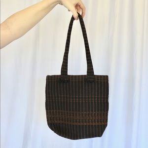 Vintage Handwoven Black And Brown Striped Purse